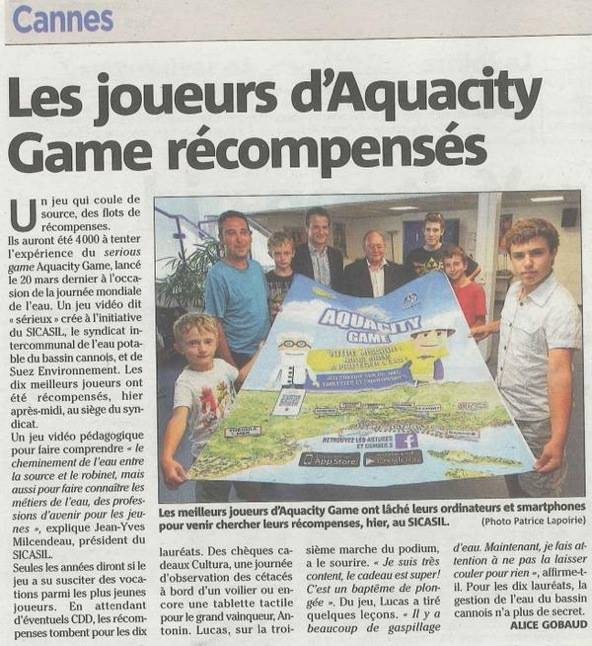 Aquacity article Nice Matin 110615