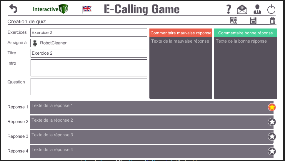E-Calling Game creation de quiz